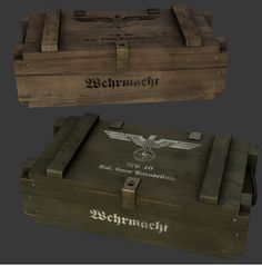 Ammo Crates Model available on Turbo Squid, the world's leading provider of digital models for visualization, films, television, and games. Wood Crates, Wooden Boxes, Jim Wood, Wood Projects, Woodworking Projects, Military Box, Prop Box, Plywood Boxes, Ammo Cans