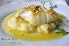 Receta de Bacalao Skrei con salsa de naranja y crema de patata | Eureka Recetas