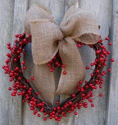 Valentine Wreath Heart Wreath Berries Burlap by NewEnglandWreath Valentine Day Wreaths, Valentine Day Crafts, Valentine Decorations, Holiday Wreaths, Valentines, Holiday Decor, Valentine Ideas, Holiday Fun, Burlap Bows
