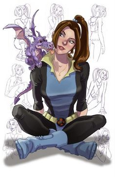 X-Men: Evolution - Kitty Pryde & Lockheed. X-Men Animated Universe Marvel Comics, Arte Dc Comics, Marvel Heroes, Ms Marvel, Captain Marvel, Kitty Pryde, X-men Evolution, X Men, Character Drawing