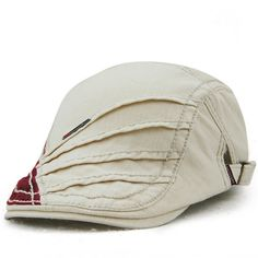 Unisex Cotton Stripe Beret Hat Duckbill Golf Flat Buckle Visor Cabbie Cap  For Men Women - Banggood Mobile 78b222cbc4e2