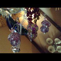 Marino Glass Heart Necklace & Earring Set , 0.925