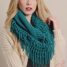 """Chenille Tassel infinity Scarf Gorgeous chenille Tassel infinity Scarf. Color: teal. Dimensions 28"""" x 14"""". Fabric 100% Acrylic. SUPER SOFT! TK5801 2 a T Boutique  Accessories Scarves & Wraps"""