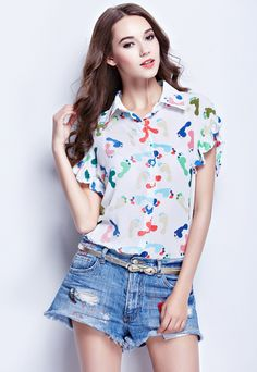 White Lapel Ruffle Sleeve Graffiti Print Blouse-SheIn
