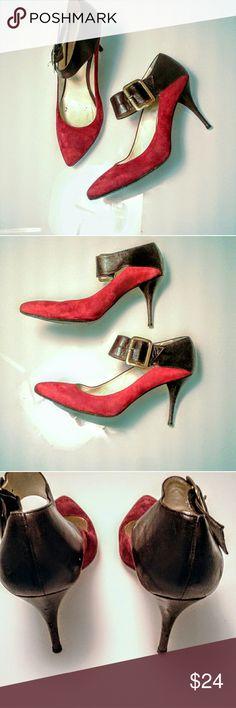 Bettey Mueller red suede & acorn brown heels 40 Gently worn.  I'm In excellent condition. Bettey Mueller Shoes Heels