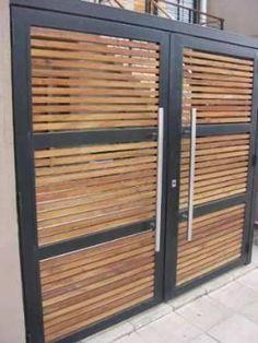 Resultado de imagem para porton herreria minimalista Metal Gates, Wrought Iron Gates, Door Design, House Design, Steel Gate Design, Modern Garage, Fence Panels, Entrance Gates, Driveway Gate