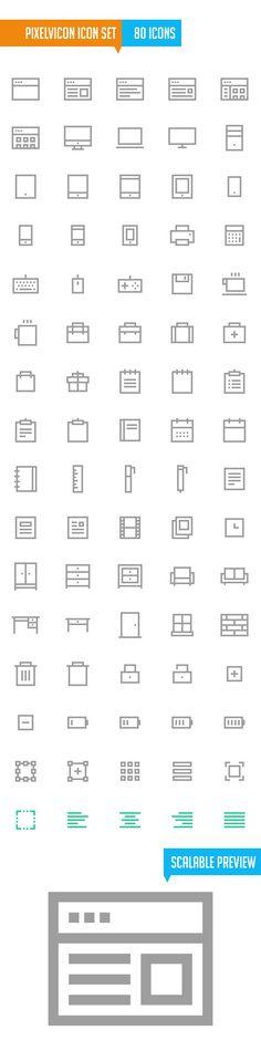 Pixelvicon Icon Set (80 Icons) #freeicons #vectoricons #strokeicons #lineicons #psdicons
