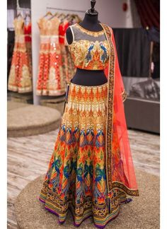 New Orange Satin Silk Printed Designer Lehenga Choli