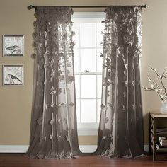 Lush Decor Riley Window Curtain Panel - Overstock™ Shopping - Great Deals on Lush Decor Curtains Handmade bows flow from the top and bottome . LIke the gray. Pink Curtains, Window Curtains, Bedroom Curtains, Elegant Curtains, Boho Curtains, Curtains Living, Sheer Curtain Panels, Window Panels, Girls Bedroom