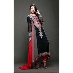 Red/Black A-Line Crinkle Chiffon Dress