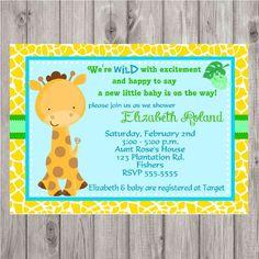 DIGITAL Giraffe Unisex or Baby Boy Shower Invitation by spencervillejunction on Etsy, $10.00