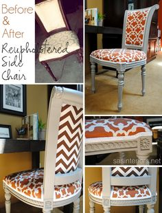 Before and After Reupholstered Side Chair; Tutorial on how to easily reupholster fabric on a chair and how to add trim. By @Jenna_Burger