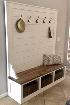 bench with storage Shiplap Hall Tree Bench Plans — the Awesome Orange Hall Tree Bench, Diy Bench, Bench, Diy Home Decor, Home, Home Diy, Tree Bench, Diy Furniture, Diy Entryway Bench