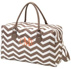 Weekender Bag Taupe Chevron Personalized by maggiesembroidery, $38.95