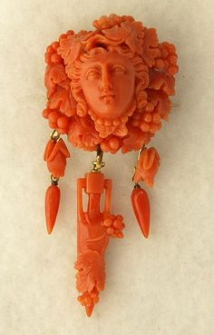 Victorian 14k Yellow Gold And Coral Cameo Brooch/Pendant