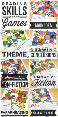 """""""My students ask to play these everyday!"""" Students will love to practice main idea, theme, drawing conclusions, summarizing, paraphrasing, and quoting with these engaging reading board games. Each game comes with a game board and 25+ game cards to help student practice these skills in a fun and exciting way!"""
