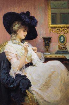 Household duties by Franz Xaver Simm (1853-1918)