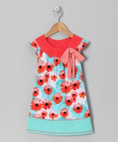 Take a look at this Orange & Seafoam Daisy Angel-Sleeve Dress - Toddler & Girls by Pink Vanilla on #zulily today!