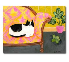 Black and White Cat on sofa ORIGINAL painting cute cat folk art spotted cat on patterned sofa with plant by Tascha