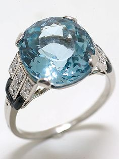 Art Deco Aquamarine engagement ring.