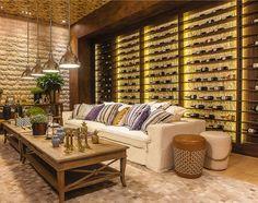 Dena Interiores  : Adega Em Casa Bar Interior, Interior Design, Home Living Room, Living Room Decor, Wine Cellar Basement, Sweet Home Design, Wine House, Wine Decor, Wine Cabinets