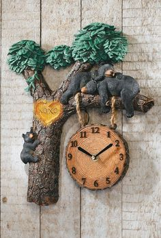 Napping Bears Lighted Woodland Wall Clock W/ Sound Lodge Cabin Den Office Decor #Regular