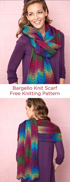 Bargello Knit Scarf Free Knitting Pattern in Red Heart Yarns -- Using Unforgettable yarn with rich shadings makes it possible to create a Bargello effect of many colors—even though it is really all one yarn color. All three lacy columns of this lace pattern scarf are knit at the same time. Be sure to read the notes for hints on doing knit Bargello!