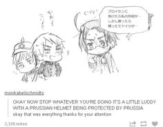 Little Germany being protected from Austria by big brother Prussia, it's so cute! Prussia Hetalia, Hetalia Funny, Hetalia Manga, Germany And Prussia, Hetalia Germany, Congress Of Vienna, Hetaoni, Usuk, Ludwig