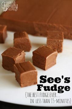 See's Fudge Recipe is the easiest, most foolproof fudge recipe ever! It never gets grainy and comes out perfectly every time.This See's Fudge Recipe is the easiest, most foolproof fudge recipe ever! It never gets grainy and comes out perfectly every time. Foolproof Fudge Recipe, Sees Fudge Recipe, See's Candy Fudge Recipe, Best Ever Fudge Recipe, Simple Fudge Recipe, Baked Fudge Recipe, Marshmallow Fluff Fudge, No Bake Fudge, Fast Recipes