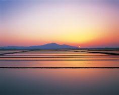 Sunset over the Niigata plain (Maki, Niigata prefecture in Japan)