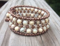 Faceted White Opal Gemstone and Antiqued Copper by McHughCreations