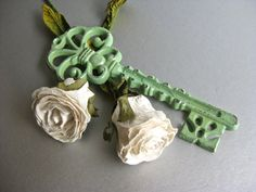 Rustic Key Paperweight Skeleton Key Green Key Shabby by Swede13, $9.50