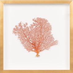 THE WELL APPOINTED HOUSE - Luxury Home Decor- Burnt Orange Sea Fan Wall Art with Gold Frame from www.wellappointedhouse.com #homedecor #decorate #wallart