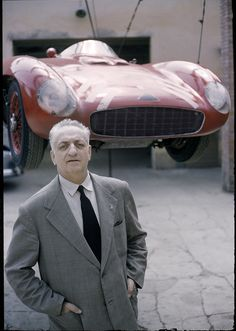 Enzo Ferrari by Tony Vaccaro Ferrari Racing, Ferrari Car, Vintage Sports Cars, Vintage Racing, Sport Cars, Race Cars, Motor Sport, Jaguar E Typ, Automobile