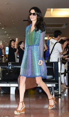 Amal Alamuddin Clooney.. Missoni Pre-Fall 2015 Dress, Valentino Platform Wedge Sandals, and Heidi London Olive Brown Sunglasses..