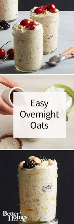 A delicious and healthy breakfast you can make the night before? Count me in! These easy overnight oats are also known as refrigerator oatmeal or chia pudding but whatever you call them theyre yummy! Try with fresh or dried fruit nuts granola peanut Chia Pudding, Brunch Recipes, Breakfast Recipes, Breakfast Fruit, Breakfast Healthy, Recipes Dinner, Breakfast Ideas, Dessert Recipes, Desserts