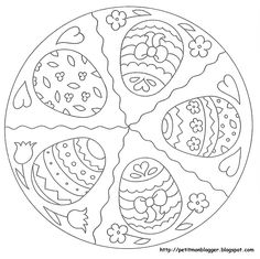 MANDALES PASQUA Spring Coloring Pages, Easter Coloring Pages, Coloring Book Pages, Coloring Pages For Kids, Easter Templates, Easter Printables, Easter Art, Easter Crafts, Easter Eggs