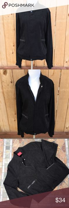 """Black Suede Like Jacket Black Suede like material is 97% Polyester & 3% Spandex. Measures 25.75"""" pit to pit & 25.5"""" long. Zips up and has a cover over zipper with one snap at the top & one snap at the bottom of zipper area. Two front pockets zip closed. Sleeve cuffs & bottom of jacket are finished off with a 2"""" rouched elastic. In excellent like new condition with NO spots or damage. Gloria Vanderbilt Jackets & Coats"""