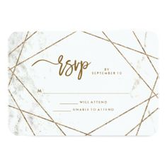 Marble Look and Copper Geometric Wedding RSVP Card