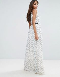 True Decadence Tall All Over Floral Maxi Dress With Metal Belt Detail