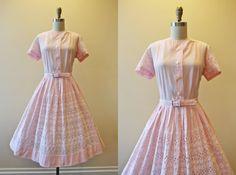 1950s Dress  Vintage 50s Dress  Cotton Candy Pink by jumblelaya, $108.00