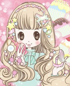 .✮ ANIME ART ✮ anime. . .pastel. . .chibi. . .long hair. . .curls. . .hair ornaments. . .stars. . .sparkles. . .carousel horse. . .perfume. . .cute. . .kawaii
