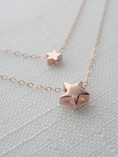 Superstar rose gold necklace  double strand rose by OliveYewJewels, $46.00
