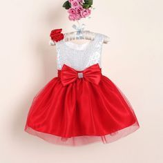 New Christmas Flower Girl Dresses Hot Red Sequin Big Bow Baby Party Dress for wedding vestidos infantis years – Buy it Now! Baby Girl Frocks, Frocks For Girls, Little Girl Dresses, Girls Dresses, Flower Girls, Flower Girl Dresses, Baby Dress, The Dress, Dress Lace