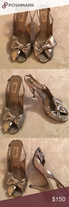 "Valentino Garavani  Silver Shoes 37 Size 37 Silver Slingbacks With Beautiful Bow On The Front. Made in Italy Pre-owned in great condition.4"" Heels Valentino Garavani Shoes Heels"