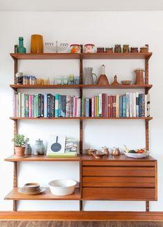 A beautifully styled shelving unit