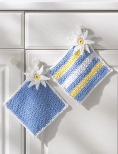 free crochet  pattern from  Yarnspirations.com - Lily Pot Holders - Patterns  | Yarnspirations