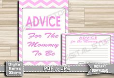 Advice For Parents To Be - Chevron Advice For Mommy To Be, Pink Chevron - Advice Cards Pink - Baby Shower Advice Chevron - INSTANT DOWNLOAD by DigitalitemsShop on Etsy
