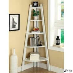 5-tier Corner Ladder Display Bookcase Authentic Solid Bookshelf White Office New - $179.98 http://cgi.ebay.com/ws/eBayISAPI.dll?ViewItem&item=321304281752