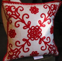 Pretty Pillows to match my red and white room! :) Living room pillows
